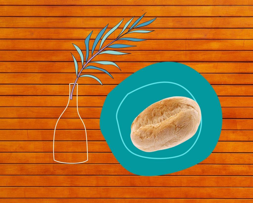 Composição, prato com papo seco e jarra