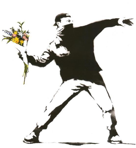 bansky, atirar um ramo de flores