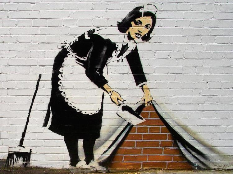 bansky, deitar o lixo por baixo da parede