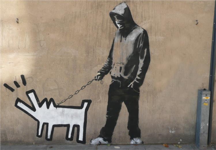 bansky, rapaz com cão