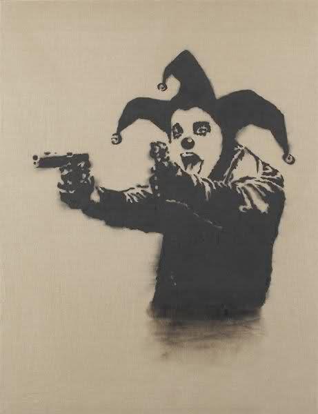 bansky, palhaço armado