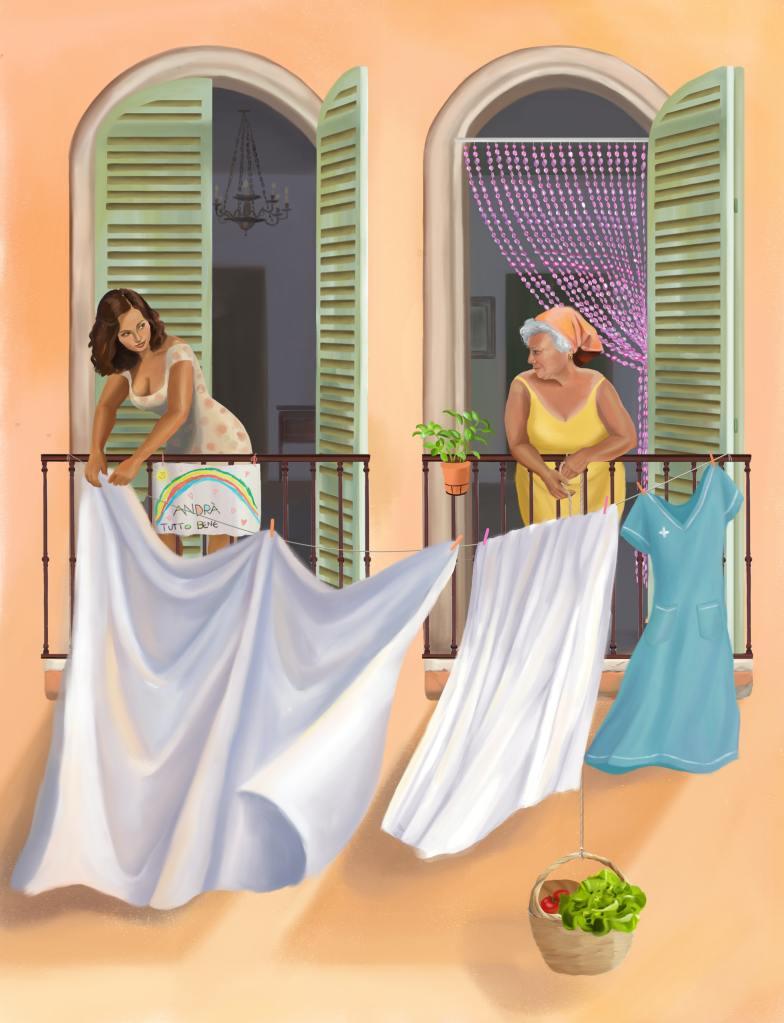 Pintura de 2 mulheres à janela