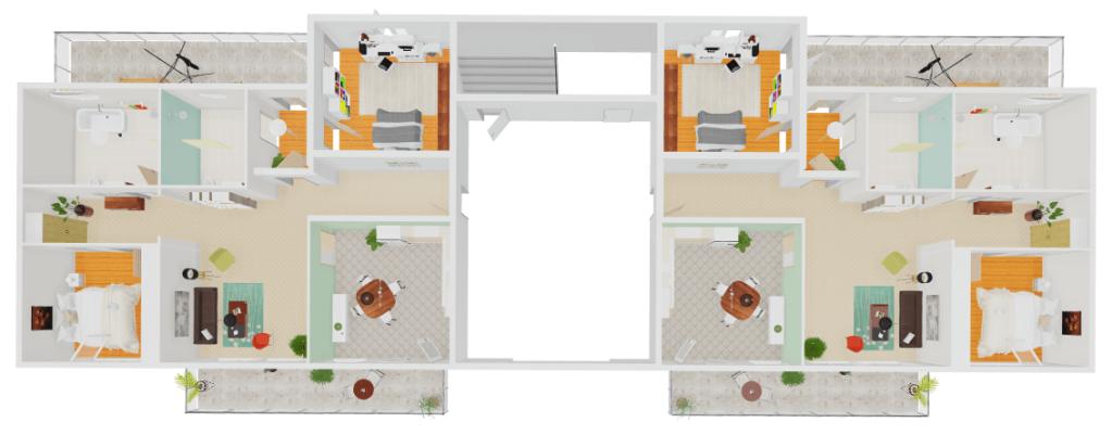 Vista Topo do andar com 2 apartamentos