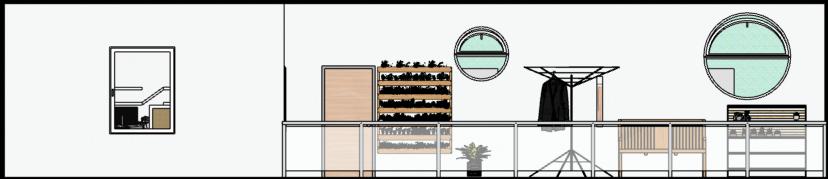 vista traseira com varanda para estendal e horta
