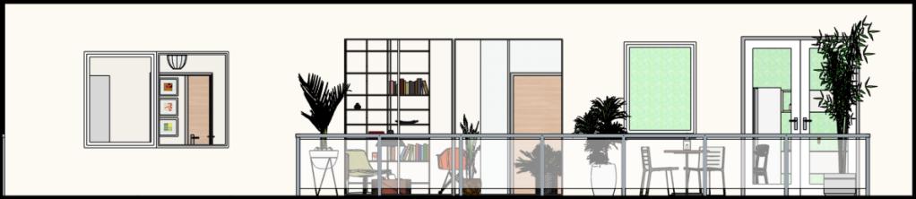 Vista de Frente, varanda da sala e cozinha
