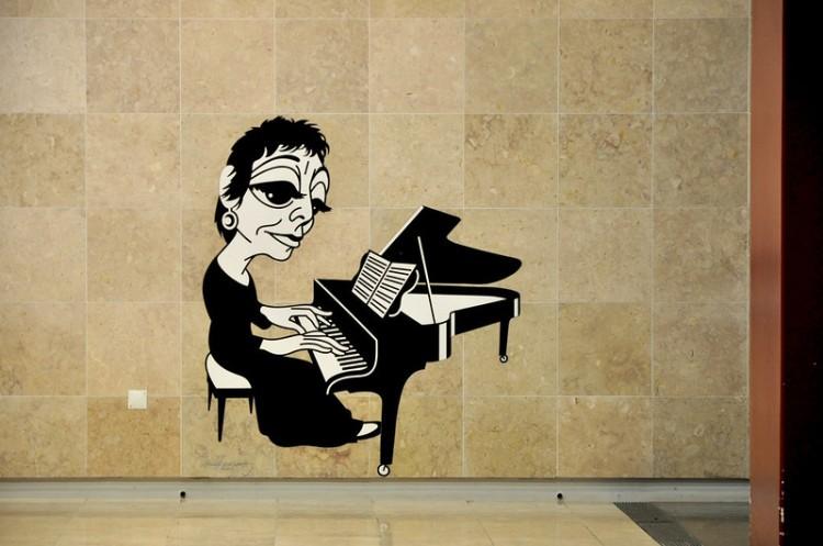 Gravura da pianista Maria João Pires