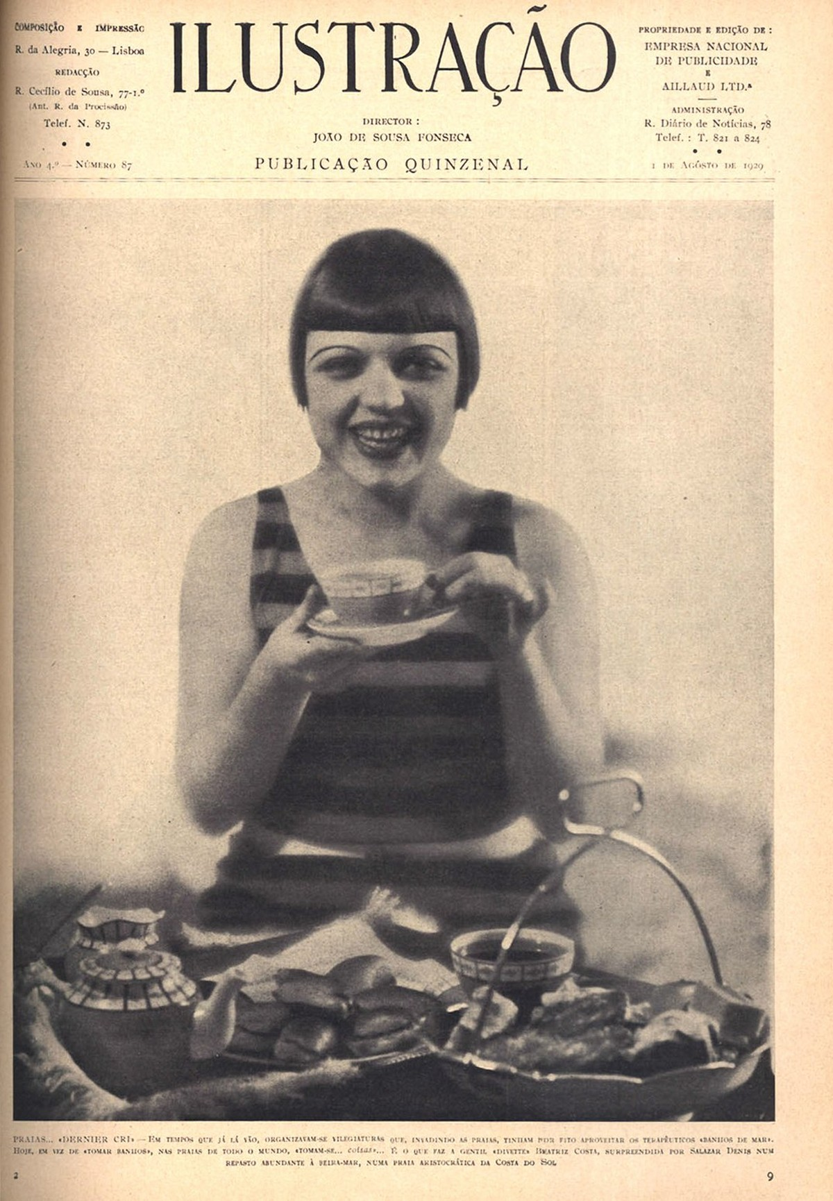 Retrato da actriz portuguesa Beatriz Costa nos anos 20