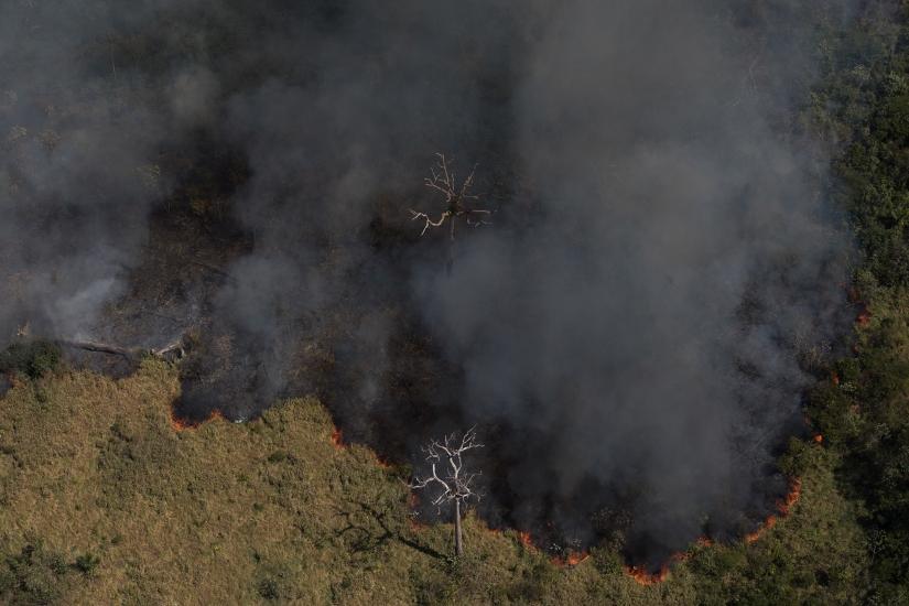 Imagem aérea de queimada próxima à Flona do Jacundá, em Rondônia (Foto Bruno Kelly/Amazônia Real/07/08/2020)