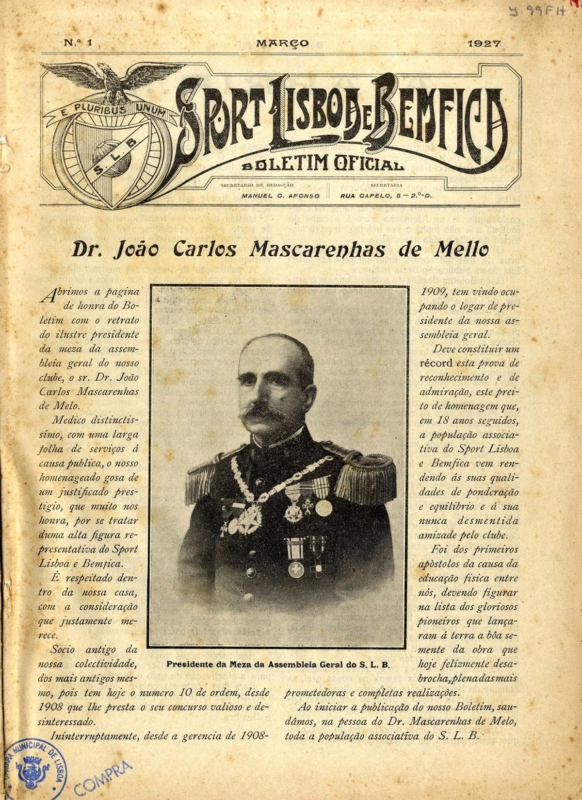 """Primeiro número do jornal oficial do clube desportivo português: """"Sport Lisboa e Benfica"""". Retrato do Presidente da Assembleia Geral do Clube: João Carlos Mascarenhas de Mello."""
