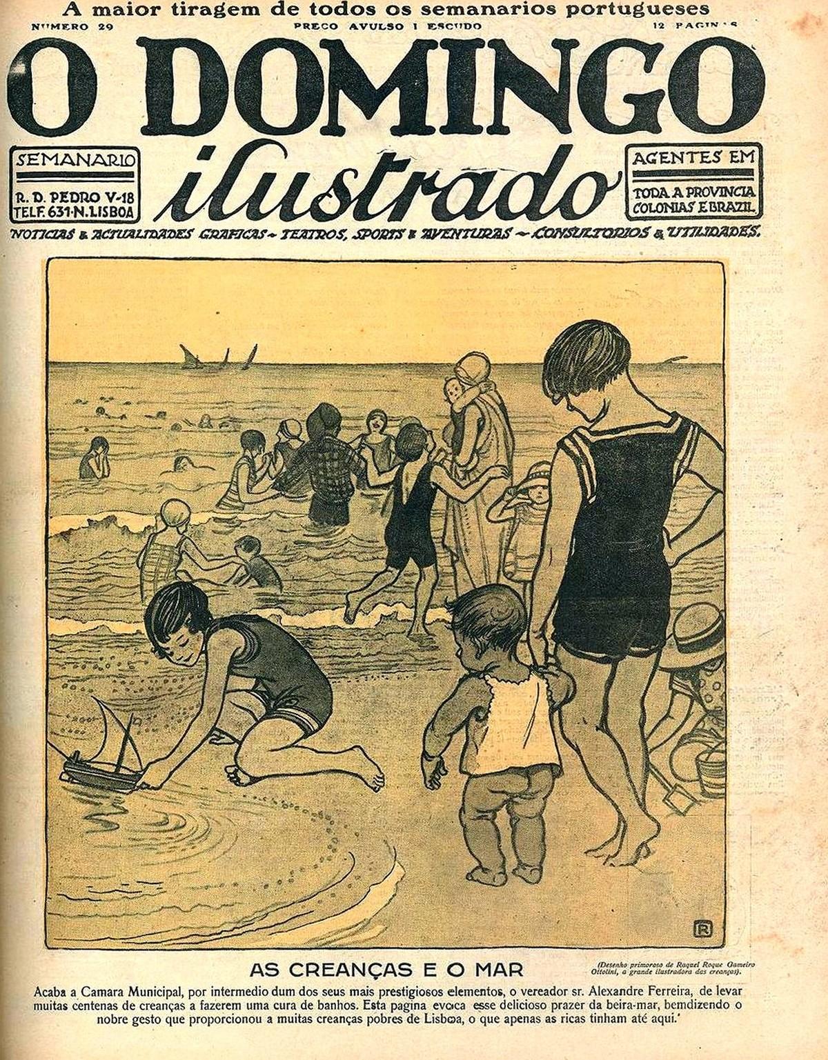 O domingo ilustrado n.º 29, 2 de Agosto de 1925. Pintora Raquel Roque Gameiro Ottolini