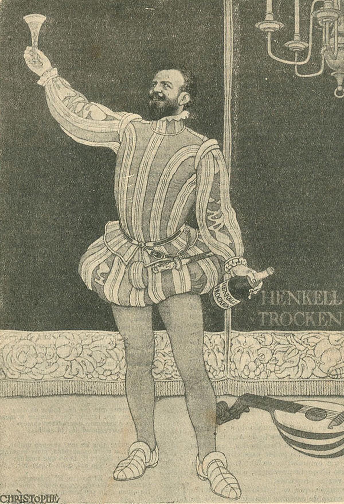 Publicidade alemã à bebida Henkell Trocken, com a imagem do cantor lírico português Francisco de Andrade.