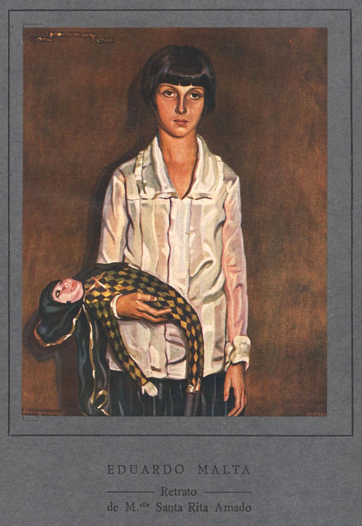 Retrato da menina Santa Rita Amado, pintado pelo pintor português Eduardo Malta, 1928