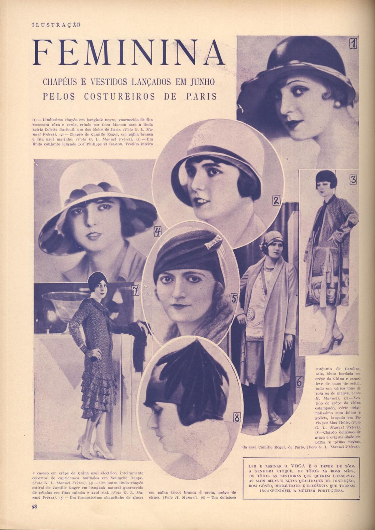Chapéus e vestidos lançados por estilistas de Paris em 1928.