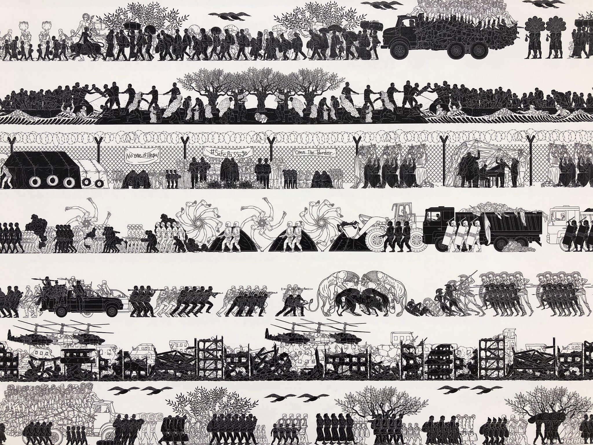 """Detail from Ai Weiwei's """"Odyssey"""" (a tapestry in wallpaper form)"""