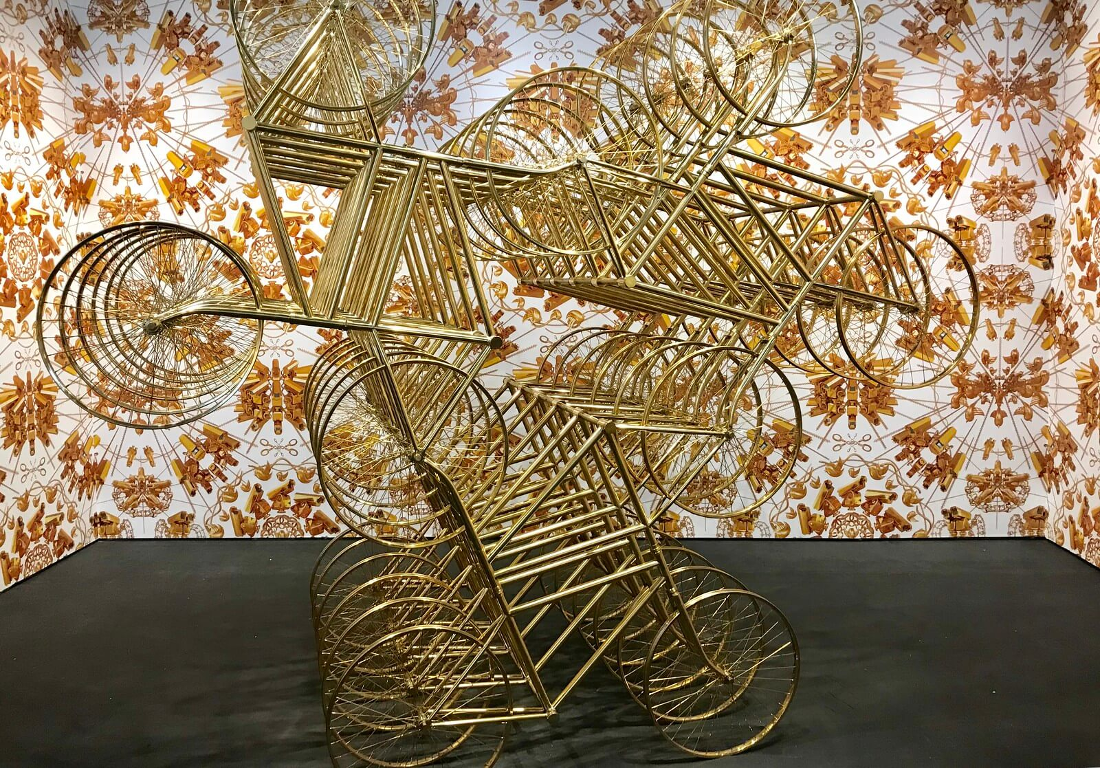 Ai Weiwei Forever (Stainless Steel Bicycles in Gilding) 3 pairs, 6 layers, 2013.