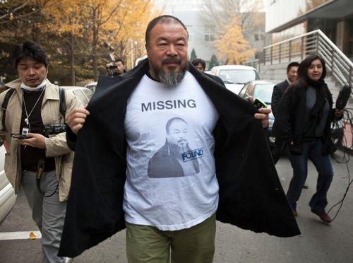 "China Ai Weiwei wit a shirt ""MISSING"""