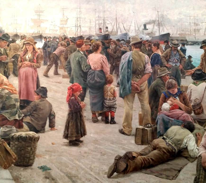 """Os emigrantes"" do toscano Angiolo Tommasi (Livorno, 1858 - Torre del Lago, 1923)"