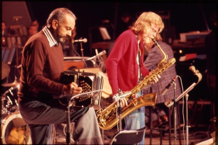 Mulligan performing with Astor Piazolla at Midem, in Cannes, France 1976.