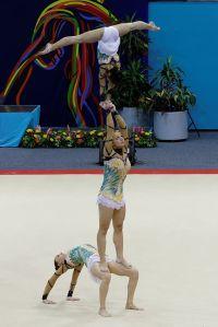 Bárbara Sequeira, Íris Mendes e Jéssica Correia terminaram na terceira posição na Taça do Mundo de ginástica acrobática.
