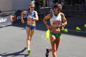 Ana Cabecinha (129) y Elisa Rigaudo (120) na Copa de Europa de Marcha Atlética de 2015 celebrada en Murcia, Espanha