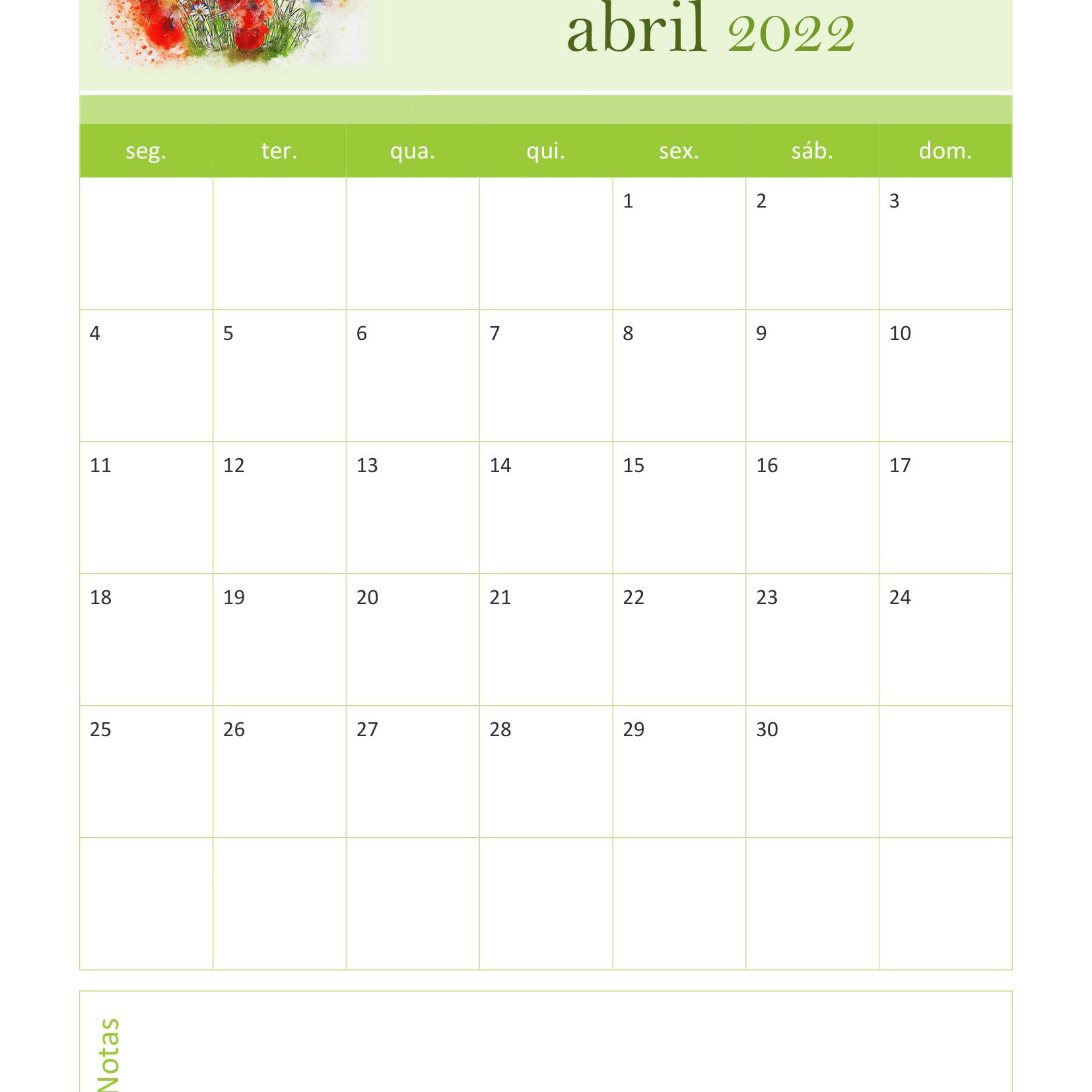 Calendário de Abril 2022