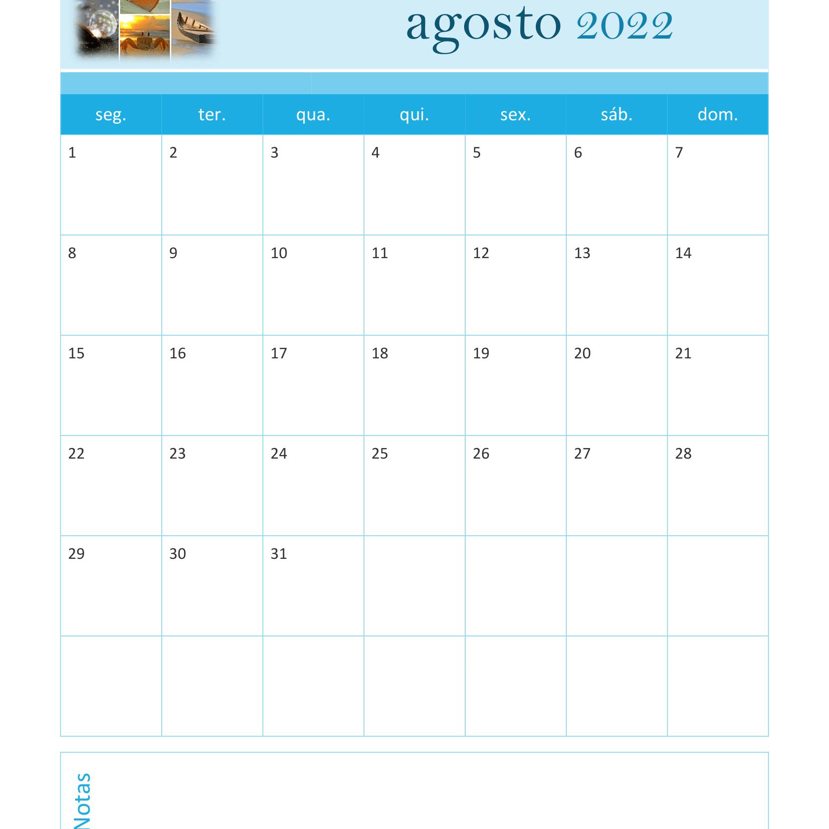 Calendário de Agosto 2022