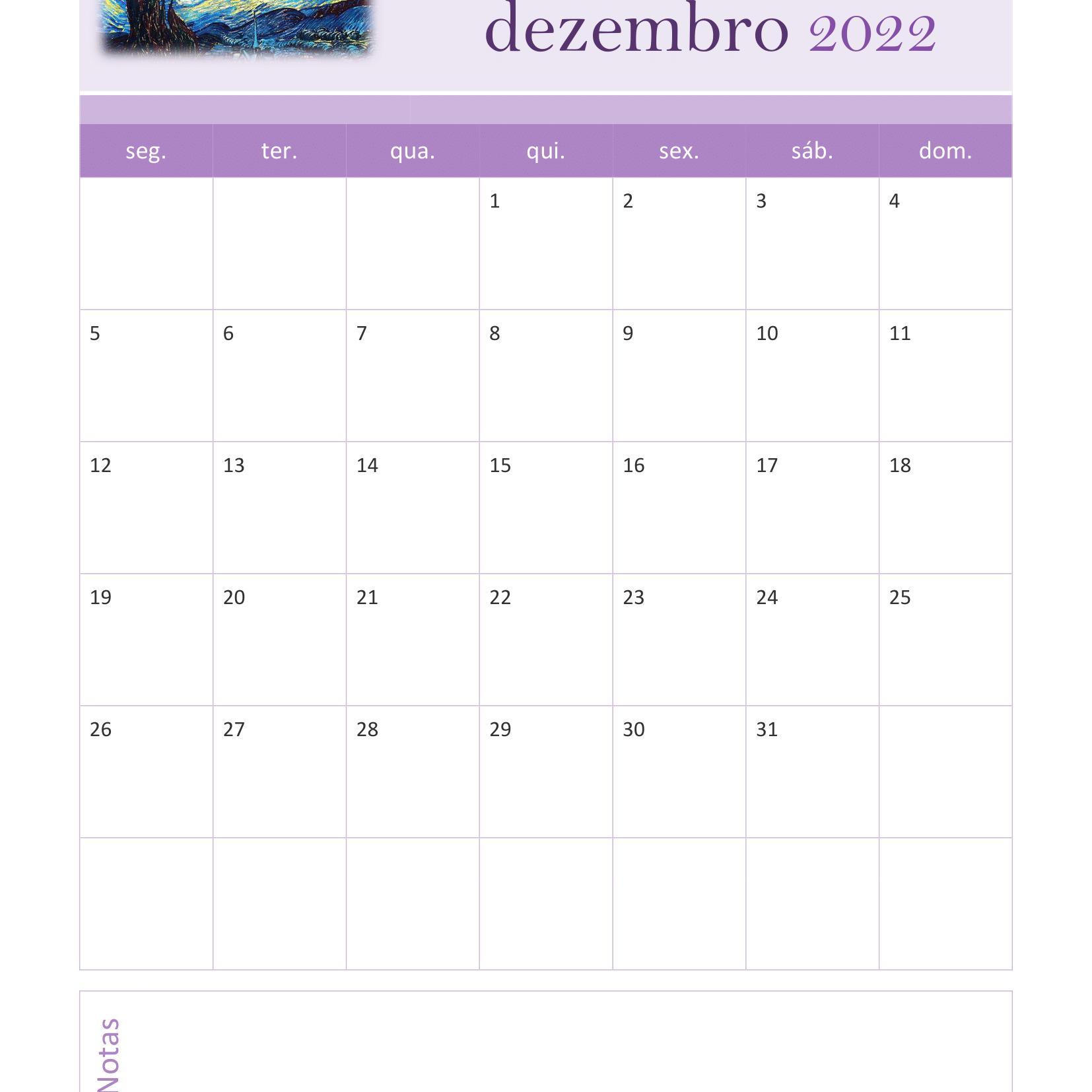 Calendário de Dezembro 2022
