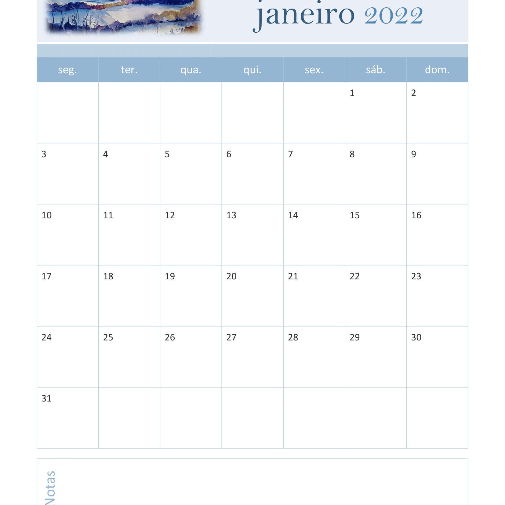 Calendário de Janeiro 2022