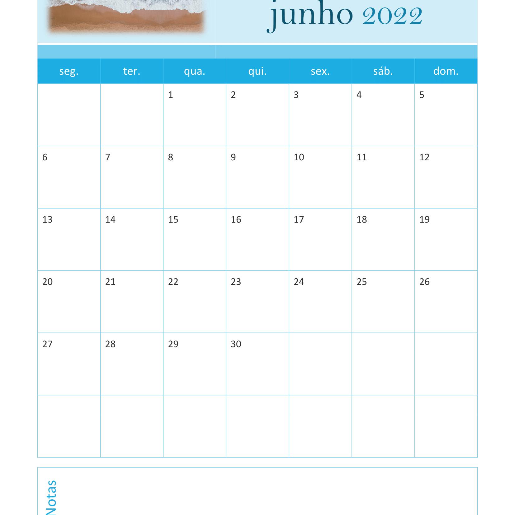 Calendário de Junho 2022