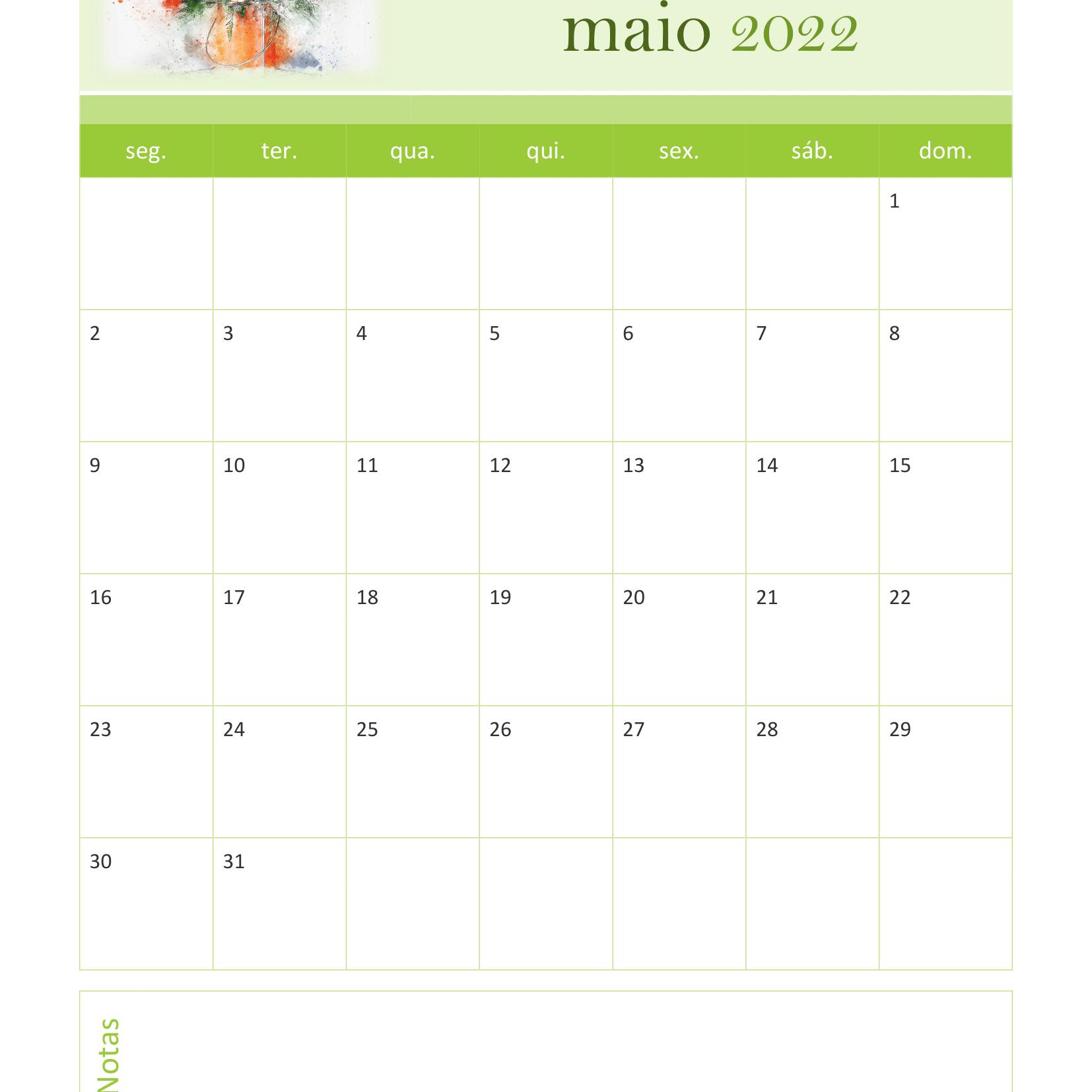Calendário de Maio 2022