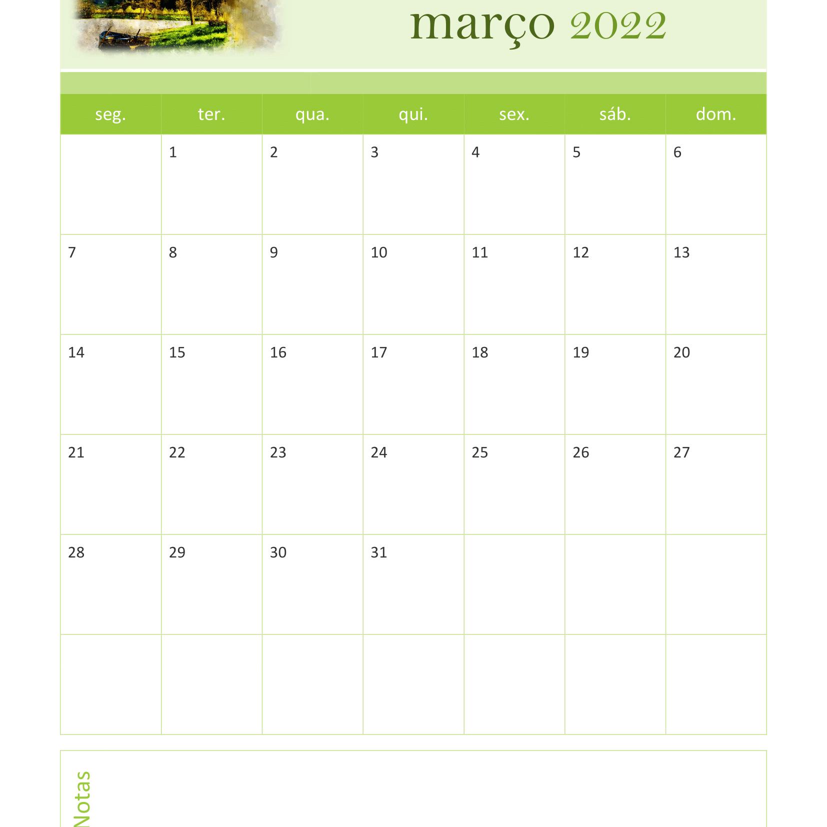 Calendário de Março 2022