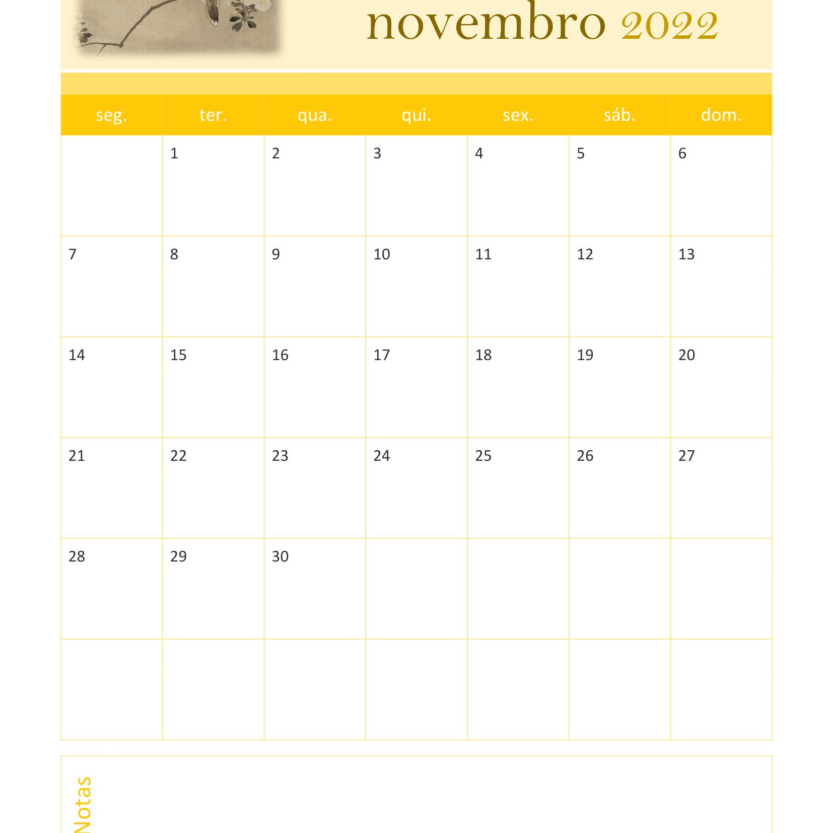 Calendário de Novembro 2022