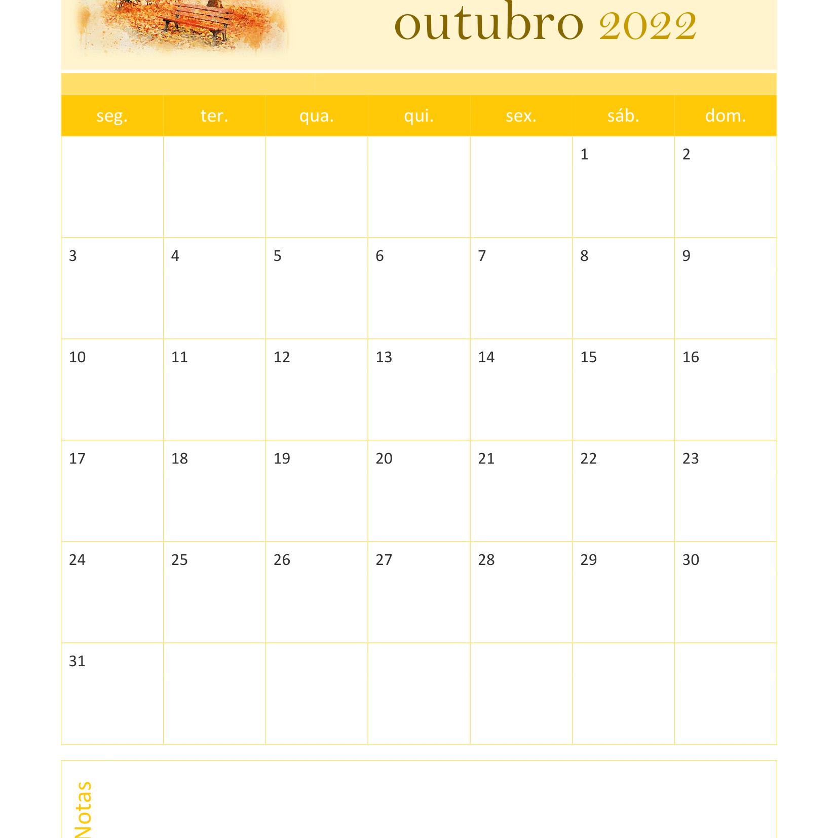 Calendário de Outubro 2022