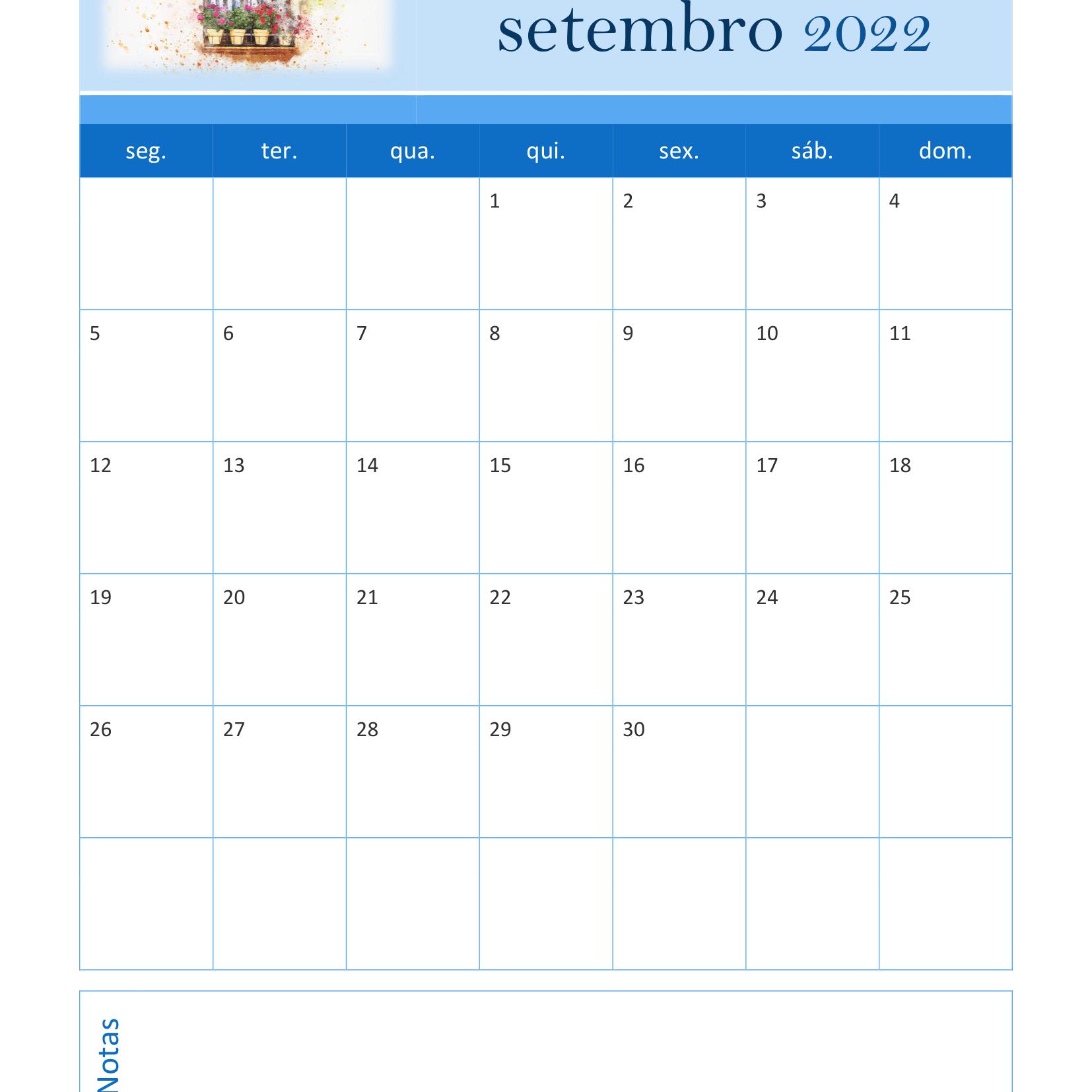 Calendário de Setembro 2022